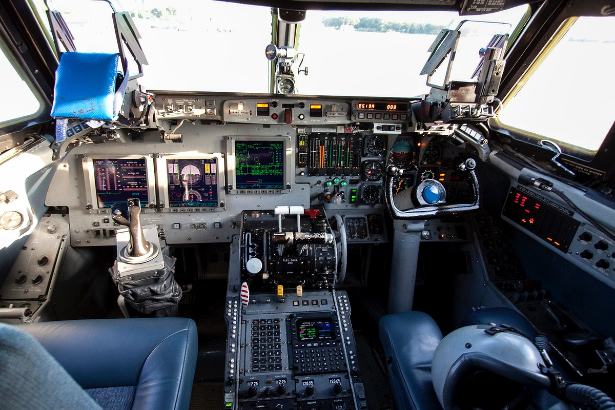This photo shows the cockpit of A Shuttle Training Aircraft (STA) sitting on the Shuttle Landing Facility runway at NASA's…