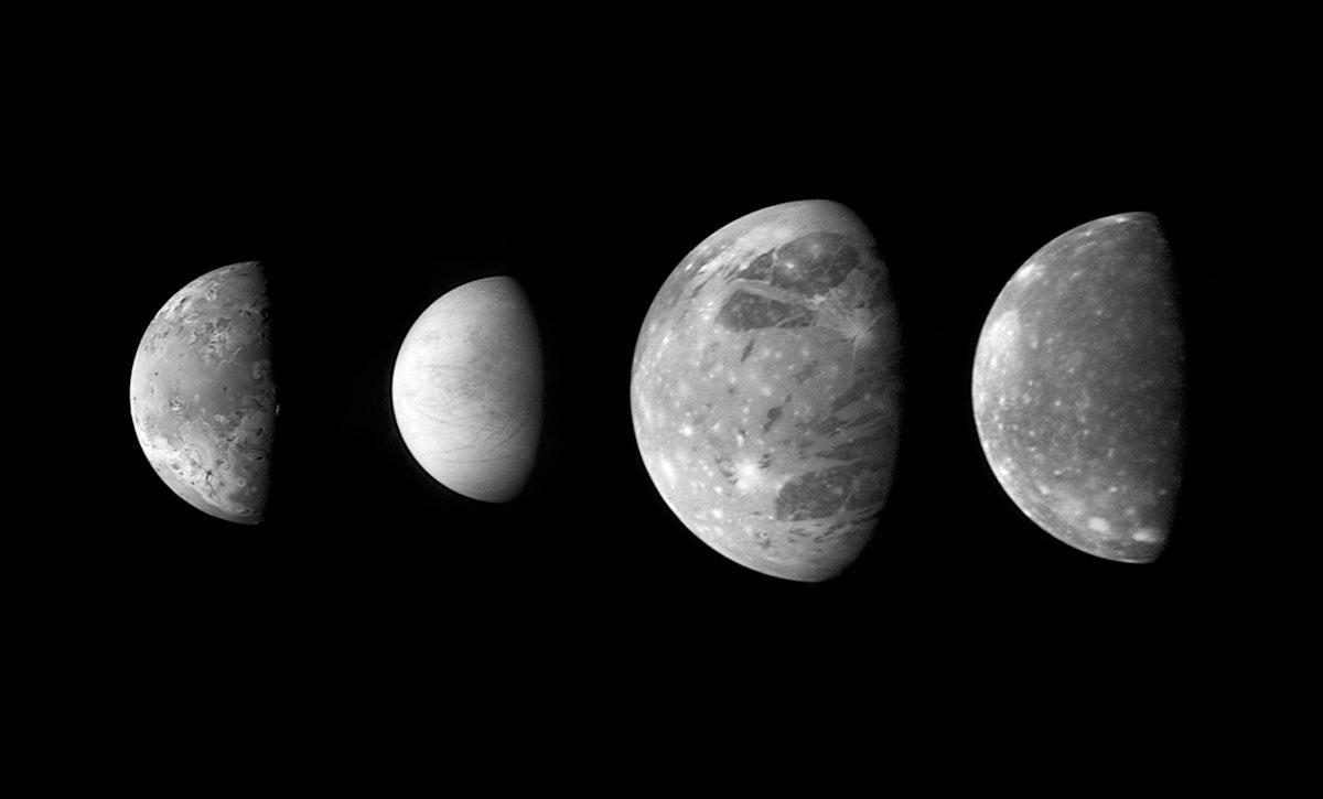 Jupiter's Moons: Family Portrait. Original from NASA. Digitally enhanced by rawpixel.