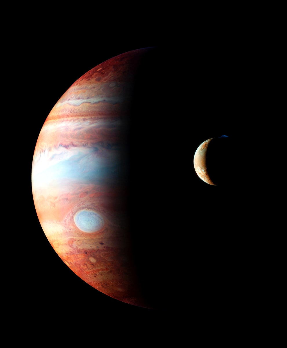 This is a montage of New Horizons images of Jupiter and its volcanic moon Io. Original from NASA. Digitally enhanced by…