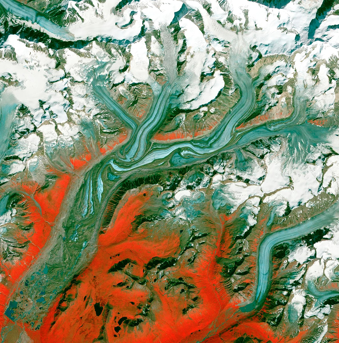 The Sustina Glacier in the Alaska Range. Original from NASA. Digitally enhanced by rawpixel.