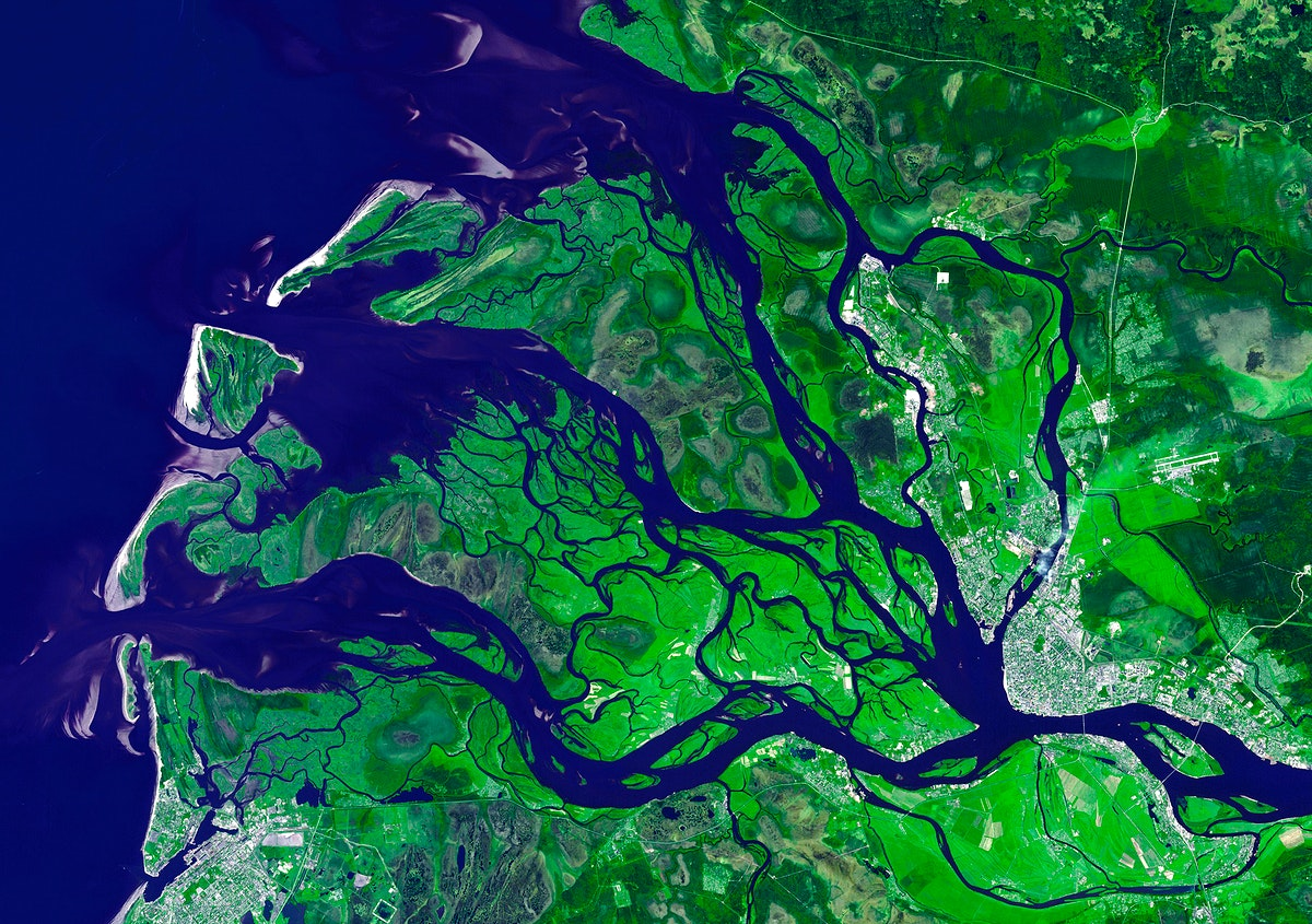 NASA's Terra spacecraft captured this image of the city of Arkhangelsk and administrative capital of Archangelsk Oblast…