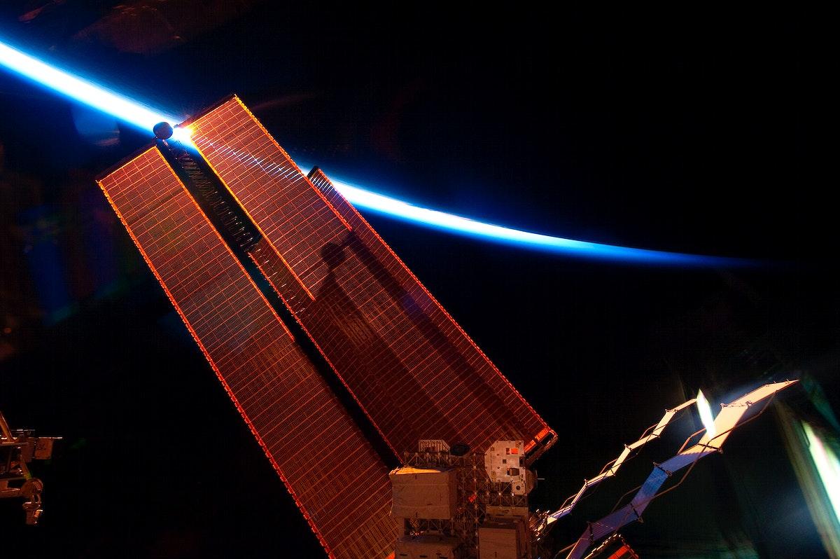 International Space Station solar array wings. Original from NASA. Digitally enhanced by rawpixel.
