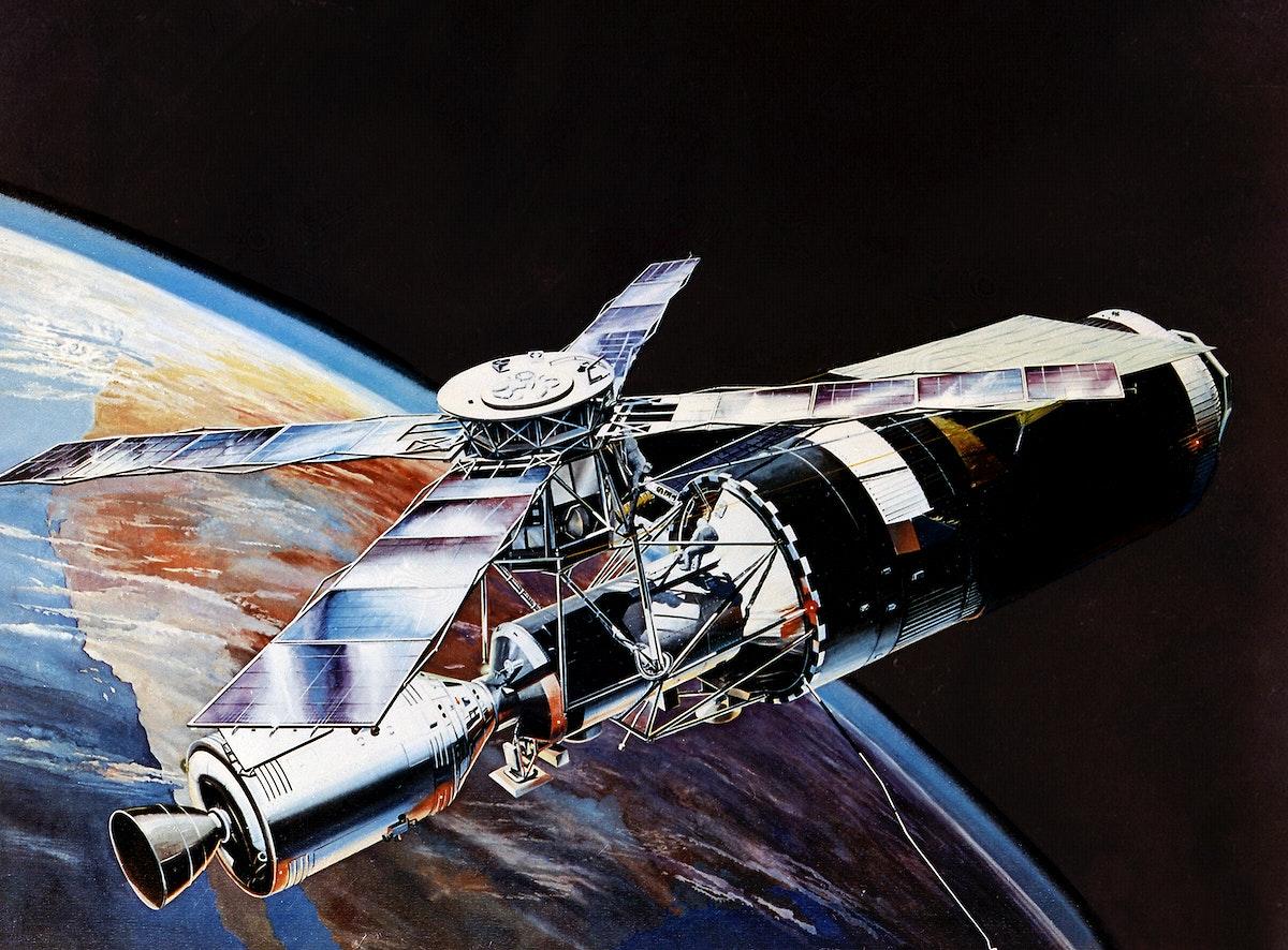 Artist's concept of the Skylab in orbit. Original from NASA. Digitally enhanced by rawpixel.