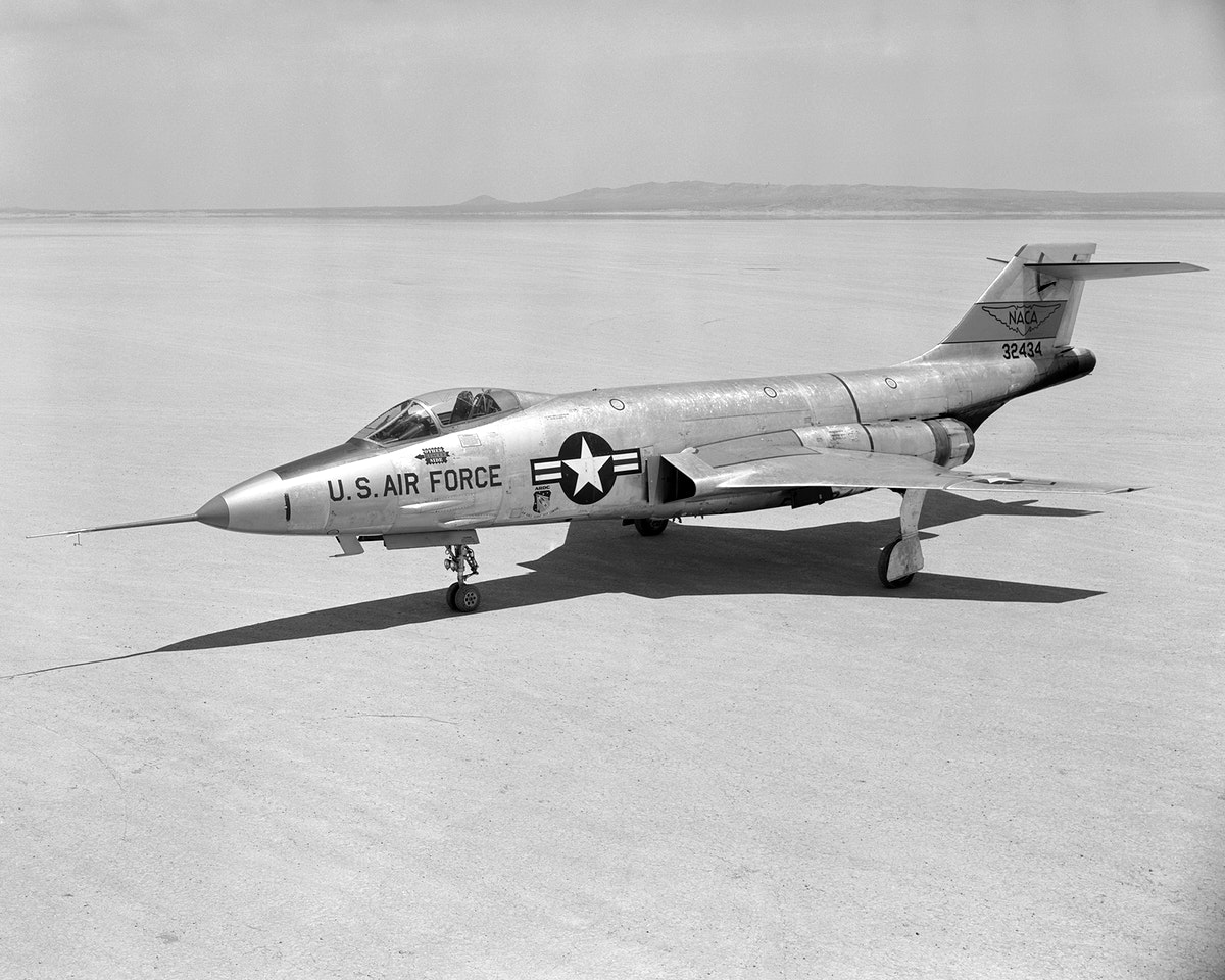 McDonnell F-101A-1-MC Voodoo 53-2418, first production aircraft, parked on Rogers Dry Lake, Edwards AFB. (U.S. Air Force).…