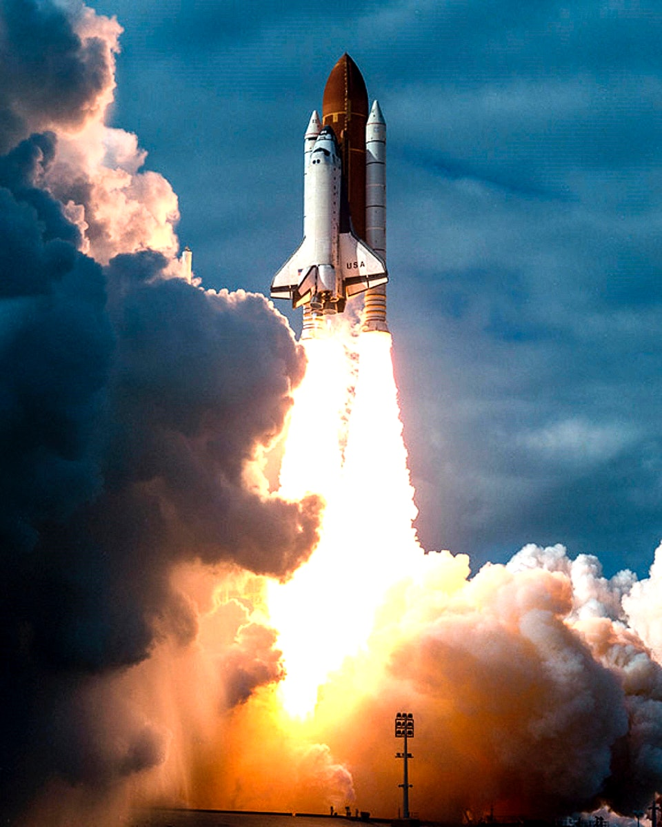 Space Shuttle Columbia climbs into orbit from Launch Pad 39B on Nov. 19, 1996. Original from NASA. Digitally enhanced by…