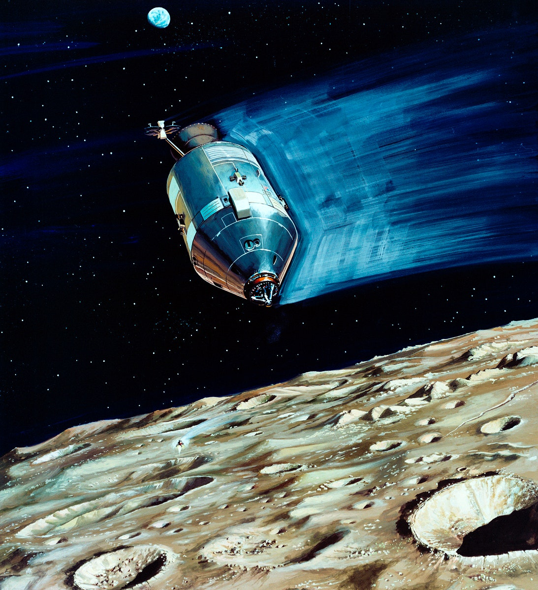 Rendered image of a small lunar subsatellite being ejected into lunar orbit from the Apollo 15 Service Module. Original from…