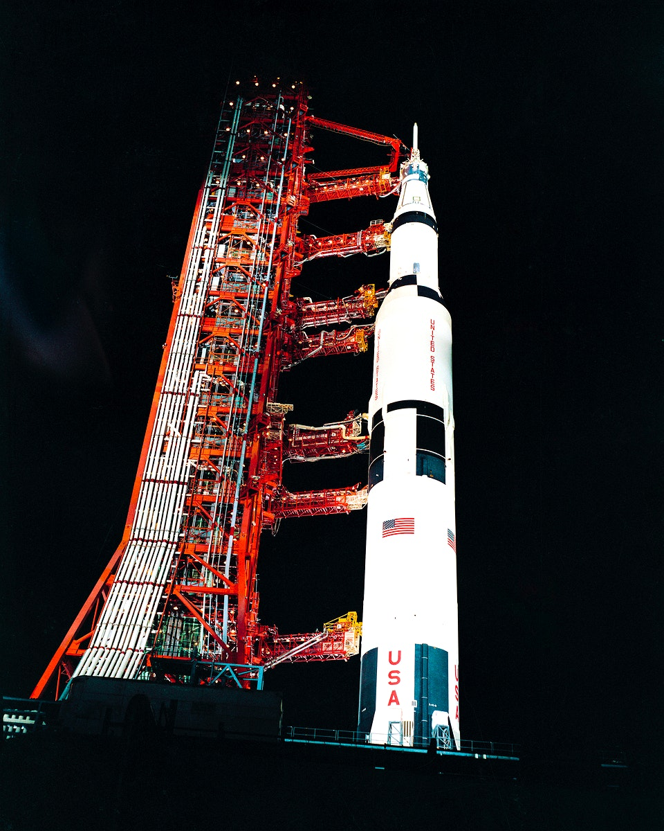 Nighttime, ground level view of Pad A, Launch Complex 39, Kennedy Space Center, showing the Apollo 13. Original from NASA.…