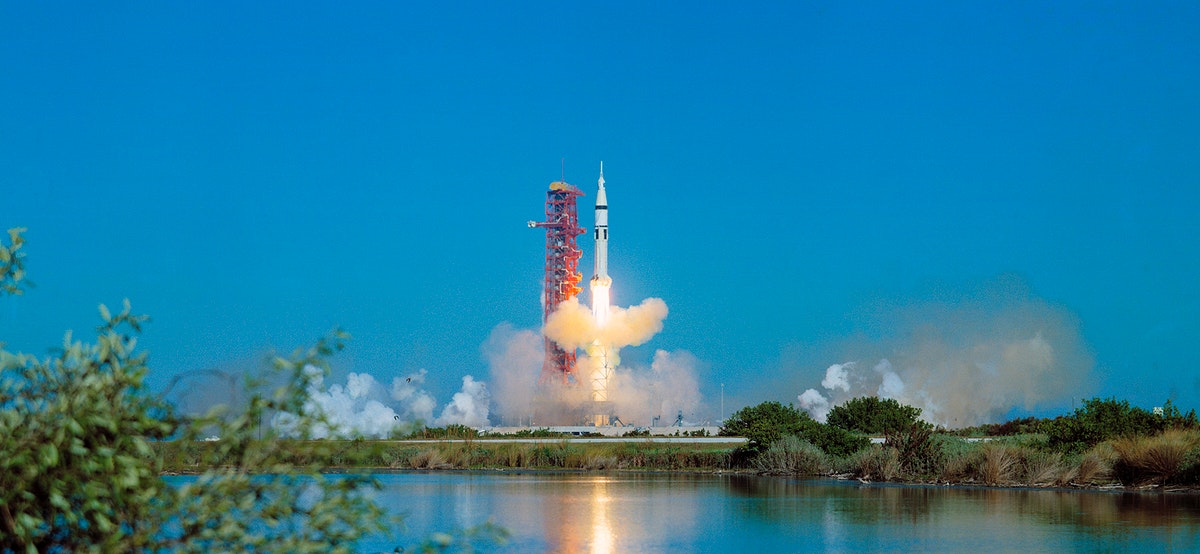 The Skylab 4/Saturn 1B space vehicle is launched from Pad B, Launch Complex 39, Kennedy Space Center, Florida, Nov. 16, 1973.…