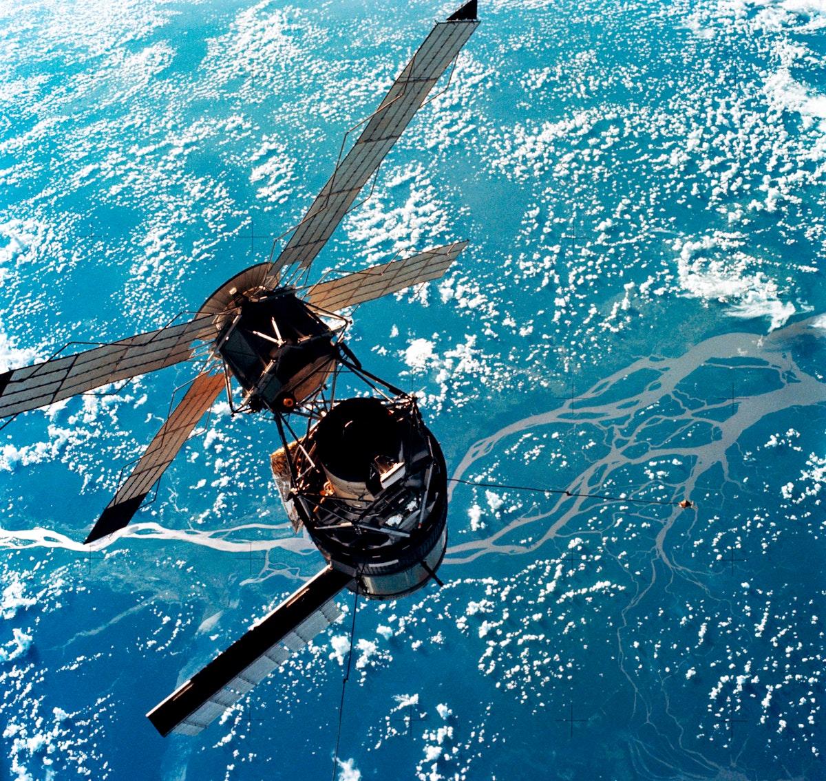 Skylab 3, Skylab as the CM moves in for docking Original from NASA. Digitally enhanced by rawpixel.