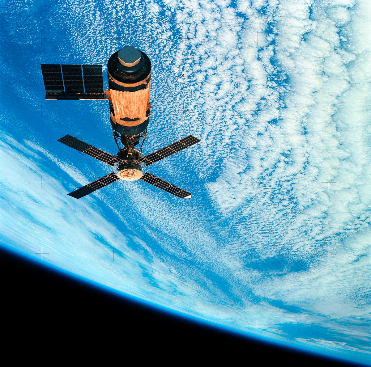 View of Skylab space station cluster in Earth orbit from CSM. Original from NASA. Digitally enhanced by rawpixel.