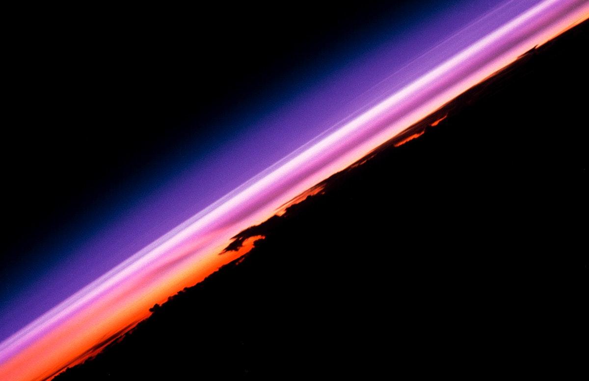 Earth views and an illuminated earth limb. Original from NASA. Digitally enhanced by rawpixel.