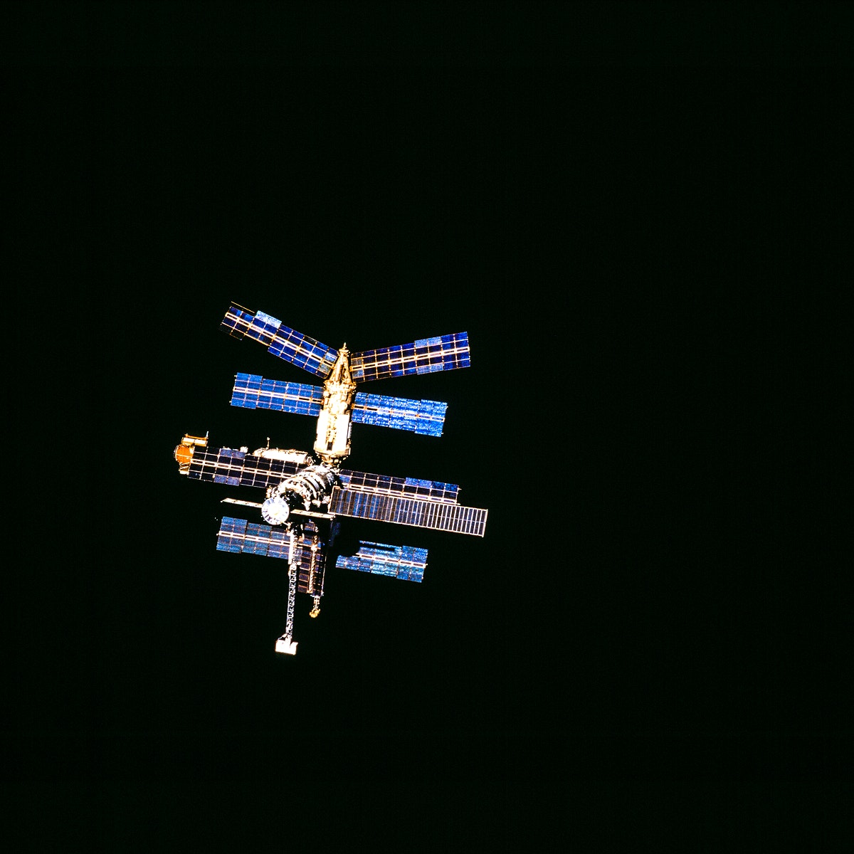 Russia's Mir Space Station during a final fly-around on March 28, 1996. Original from NASA. Digitally enhanced by rawpixel.