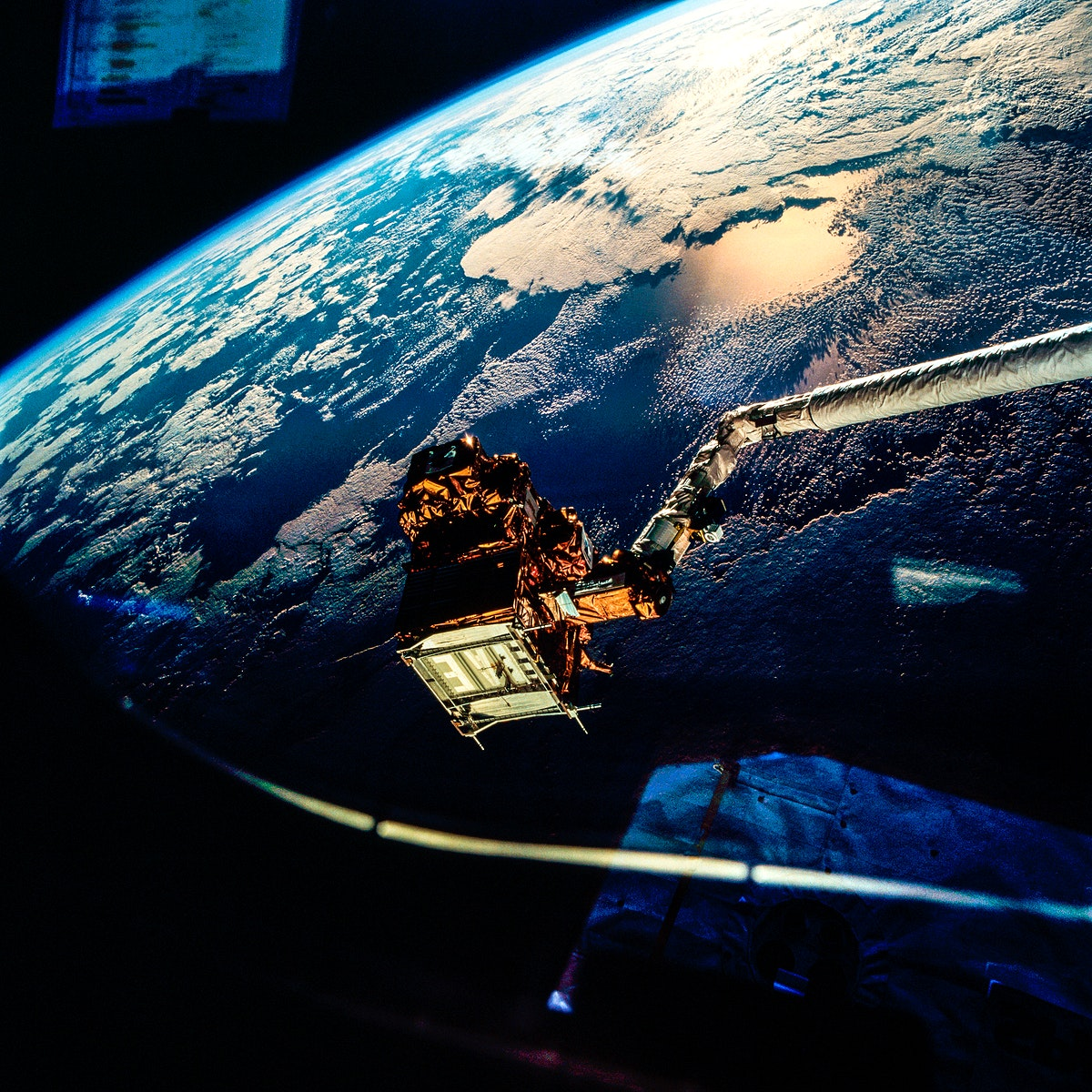 View of the SPARTAN satellite during its release into orbit. Original from NASA. Digitally enhanced by rawpixel.