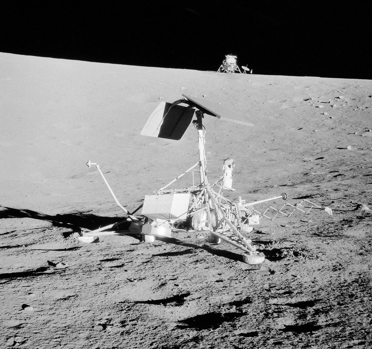 This unusual view shows two NASA spacecrafts on the surface of the moon, 20 Nov. 1969. Original from NASA . Digitally…