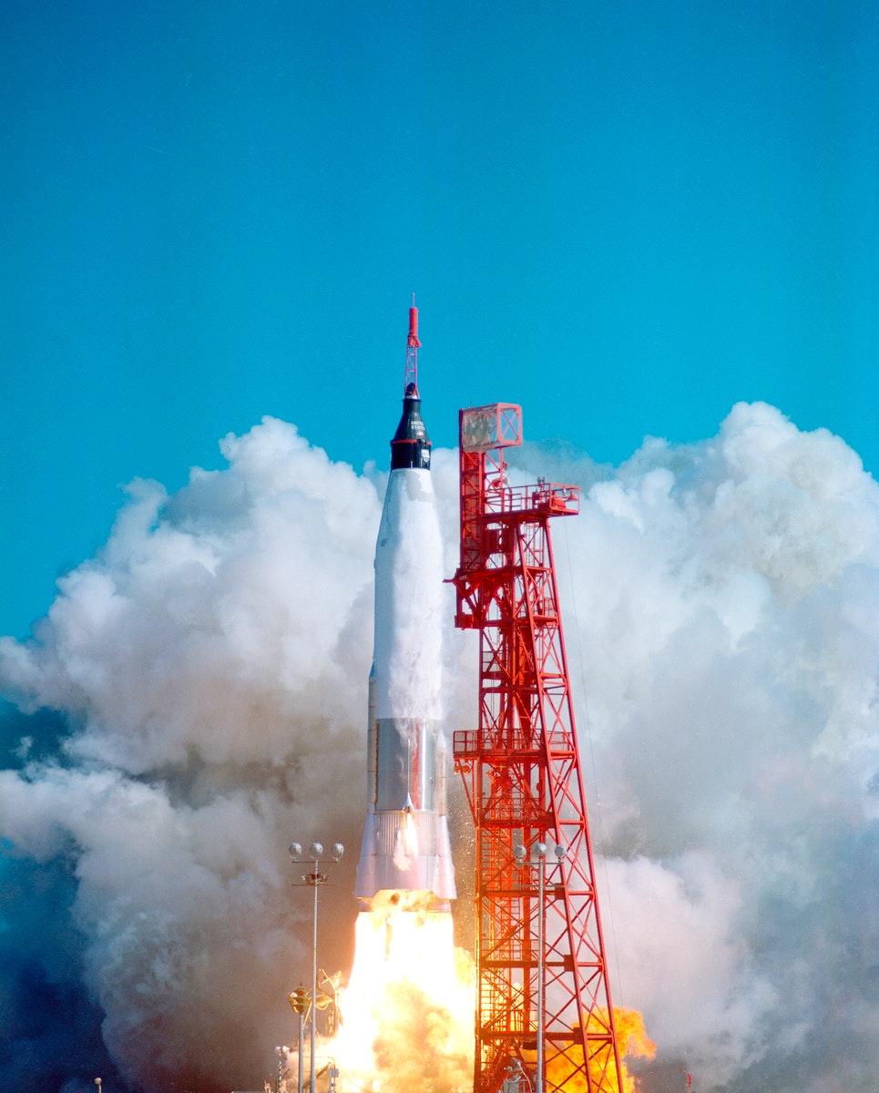 Launch of Friendship 7 with astronaut John Glenn aboard. Original from NASA. Digitally enhanced by rawpixel.