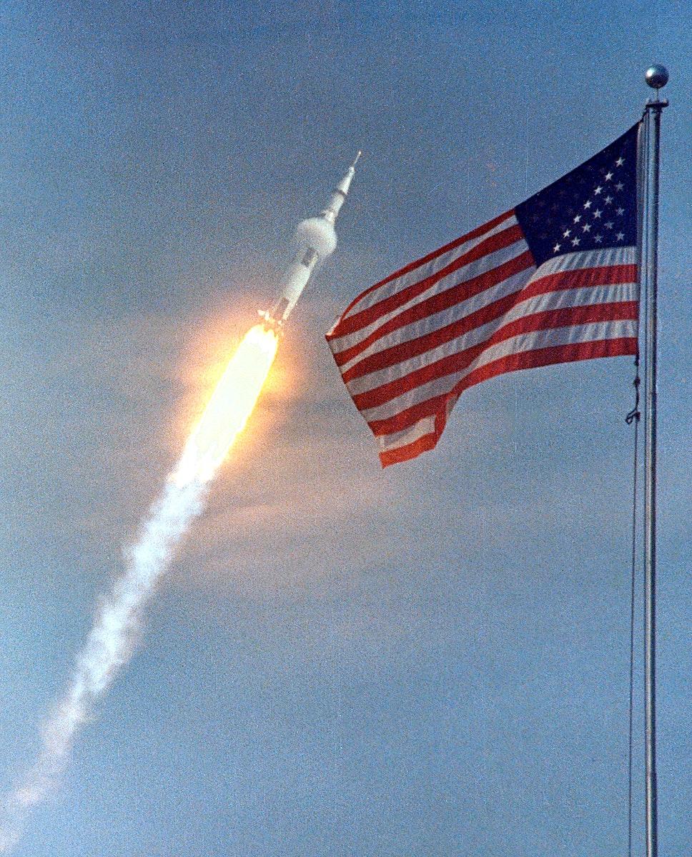 The American Flag heralds the flight of Apollo 11, man's first lunar landing mission. Original from NASA. Digitally enhanced…