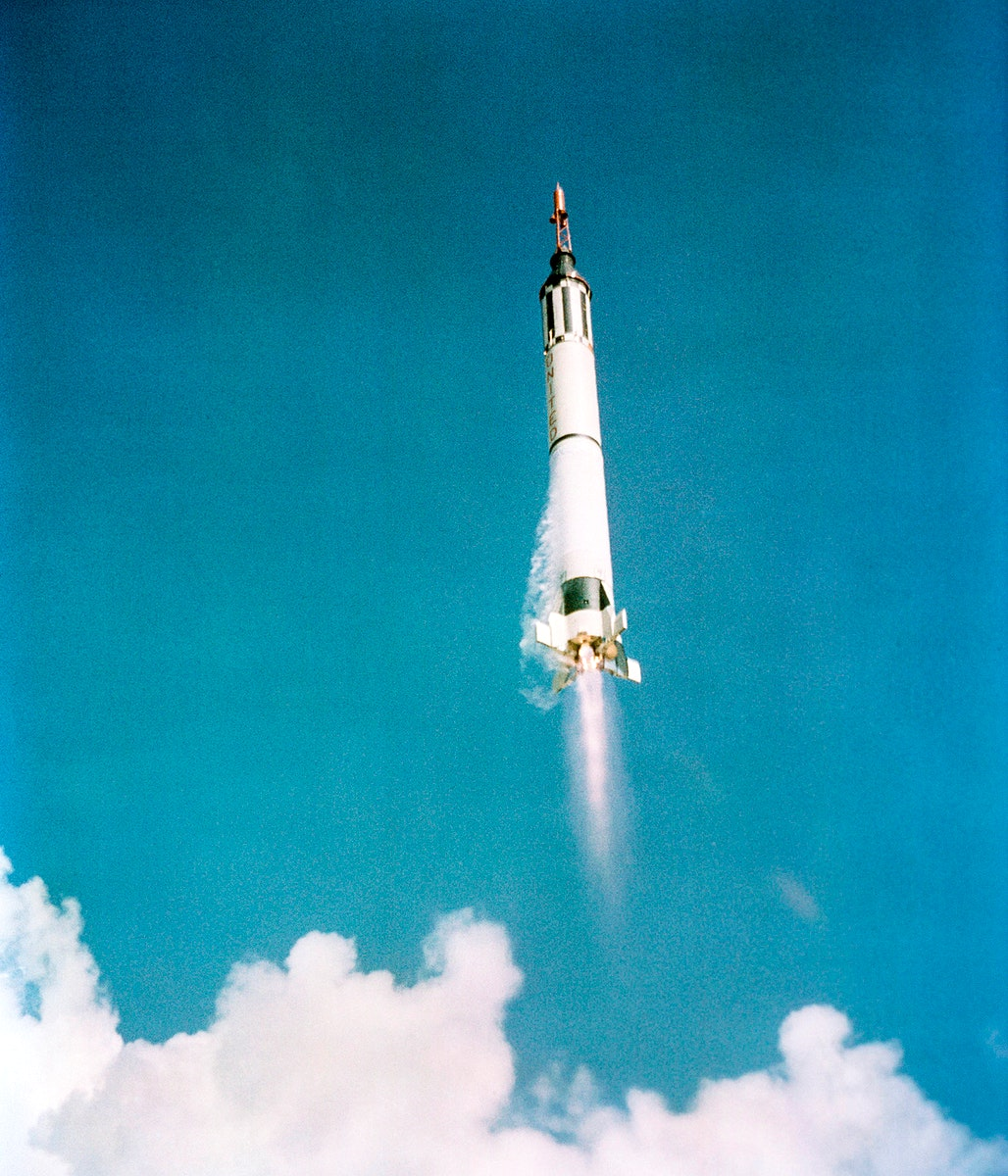 The launch of the Mercury-Redstone 3 spacecraft from Cape Canaveral on a suborbital mission, 5 May 1961. Original from NASA.…