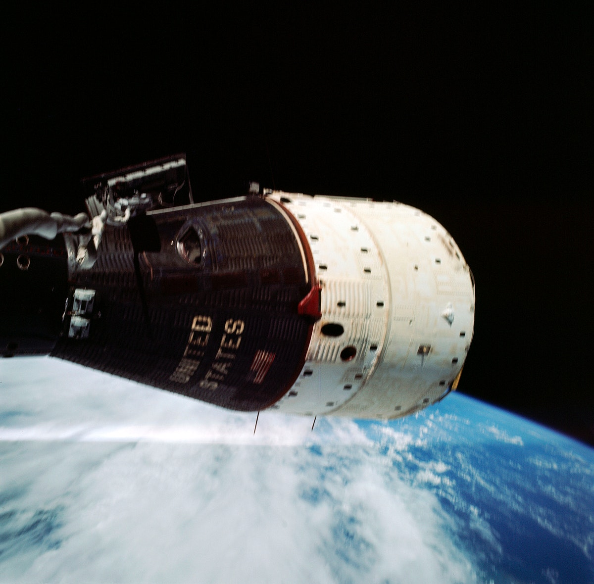 Astronaut Eugene A. Cernan took this close-up view of the Gemini-9A spacecraft during his extravehicular activity on the…