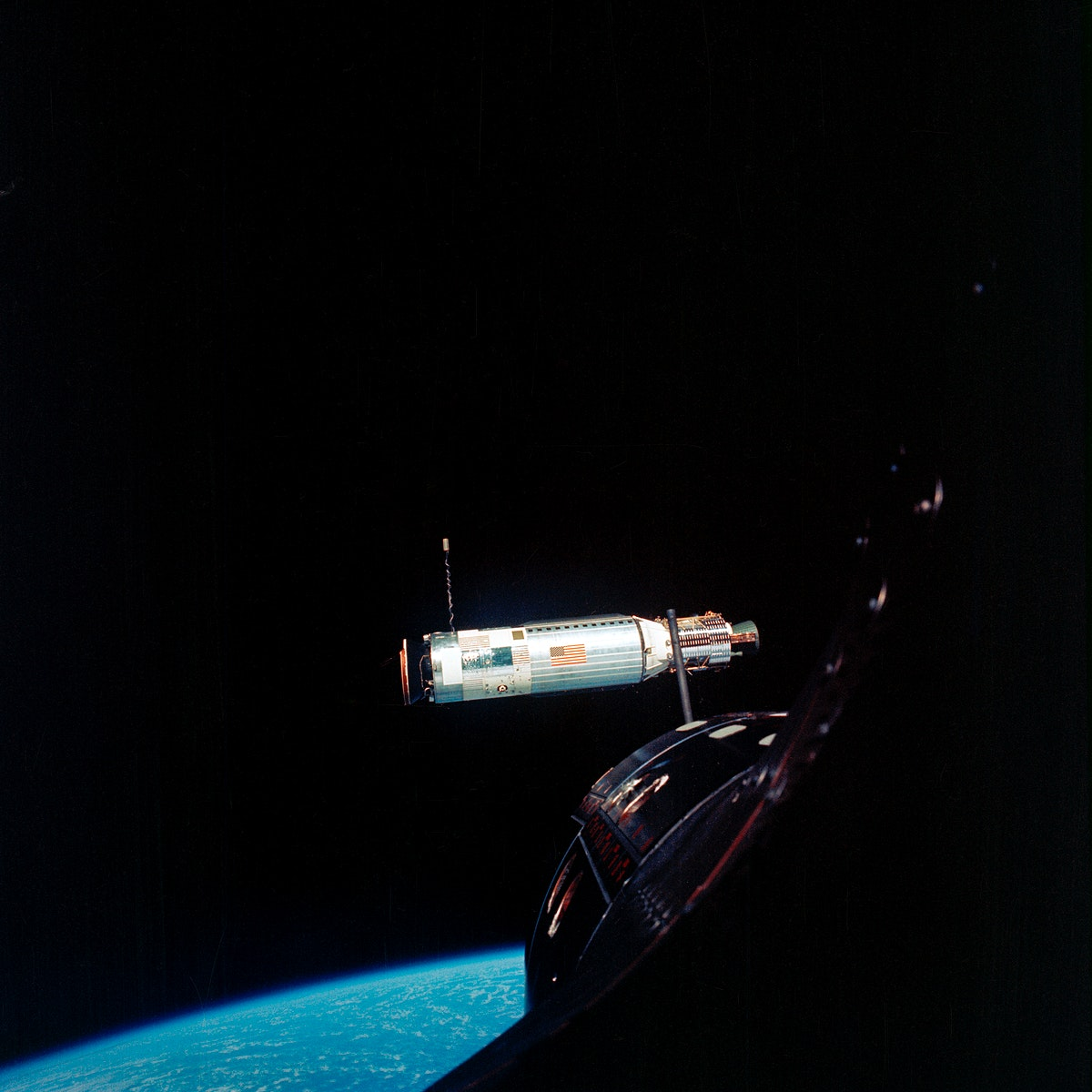 Agena Target Docking Vehicle photographed from Gemini 10 spacecraft. Original from NASA. Digitally enhanced by rawpixel.