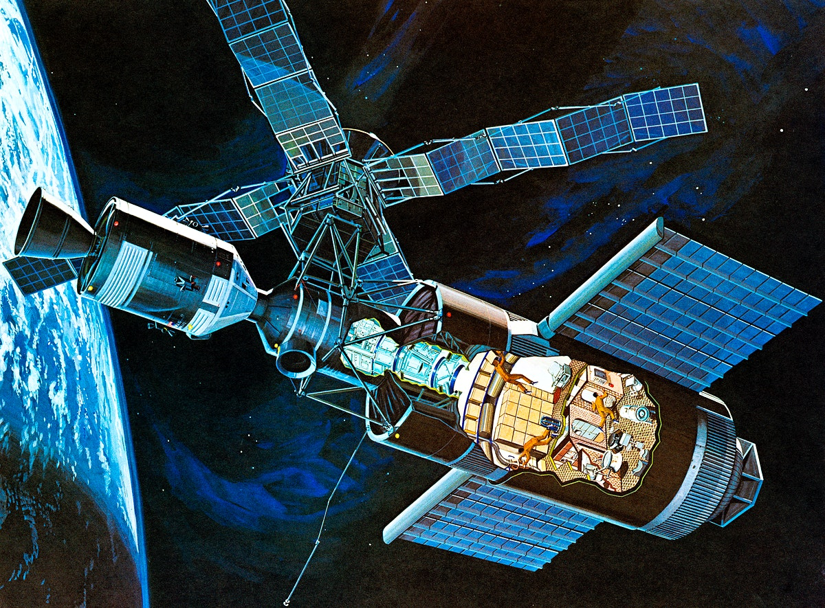 Artist's concept of Skylab space station cluster in Earth's orbit. Original from NASA. Digitally enhanced by rawpixel.
