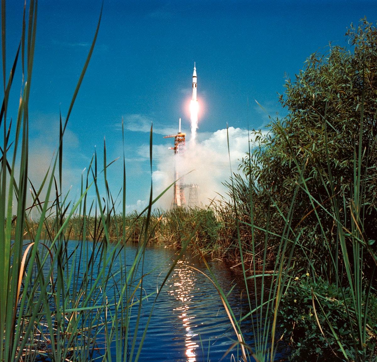 Liftoff - Apollo-Soyuz Test Project (ASTP) - KSC