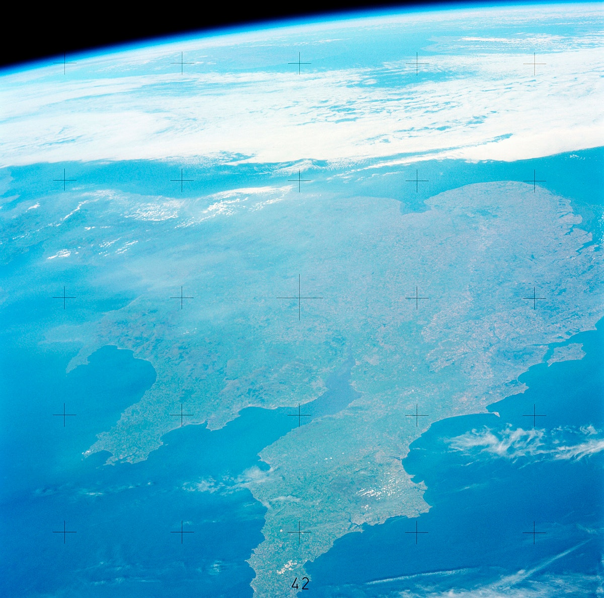 View of a portion of Great Britain looking northeastward. Original from NASA. Digitally enhanced by rawpixel.