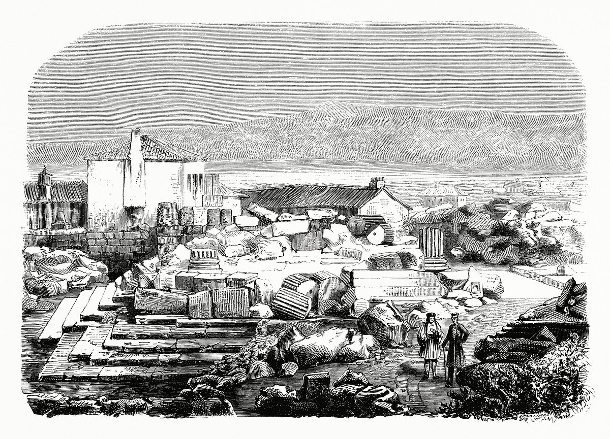 Exterior Propylaea of Eleusis (1862) from Gazette Des Beaux-Arts, a French art review. Digitally enhanced from our own…