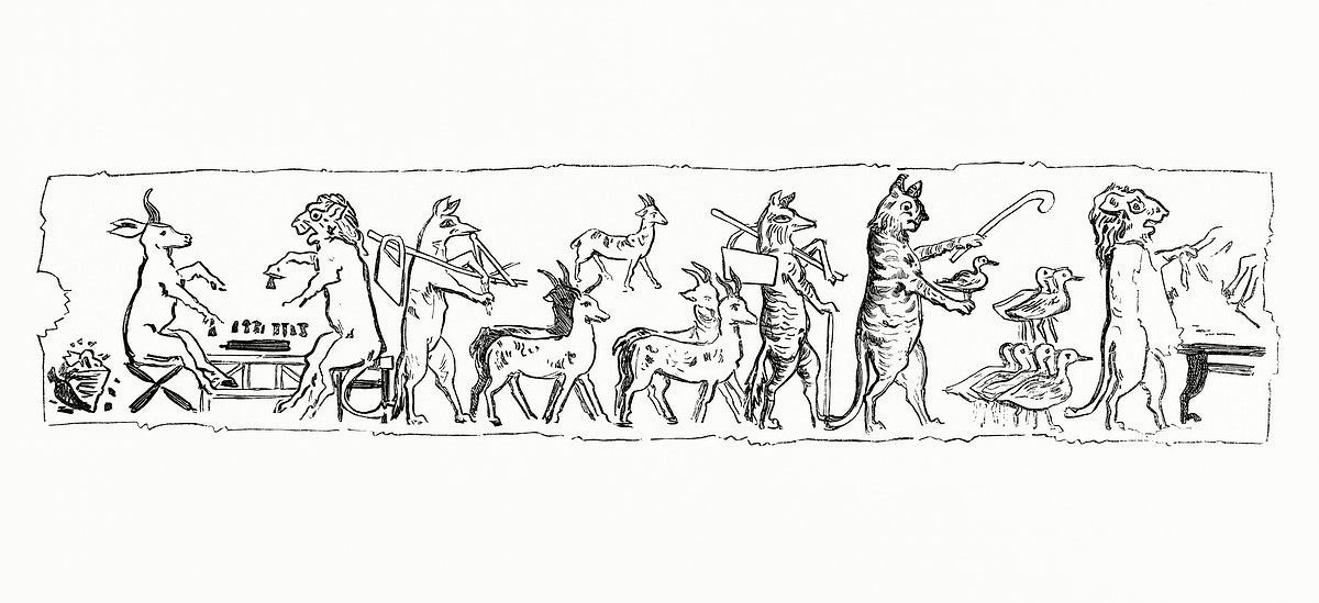 Eygptian style drawing of animals living like human (1862) from Gazette Des Beaux-Arts, a French art review. Digitally…