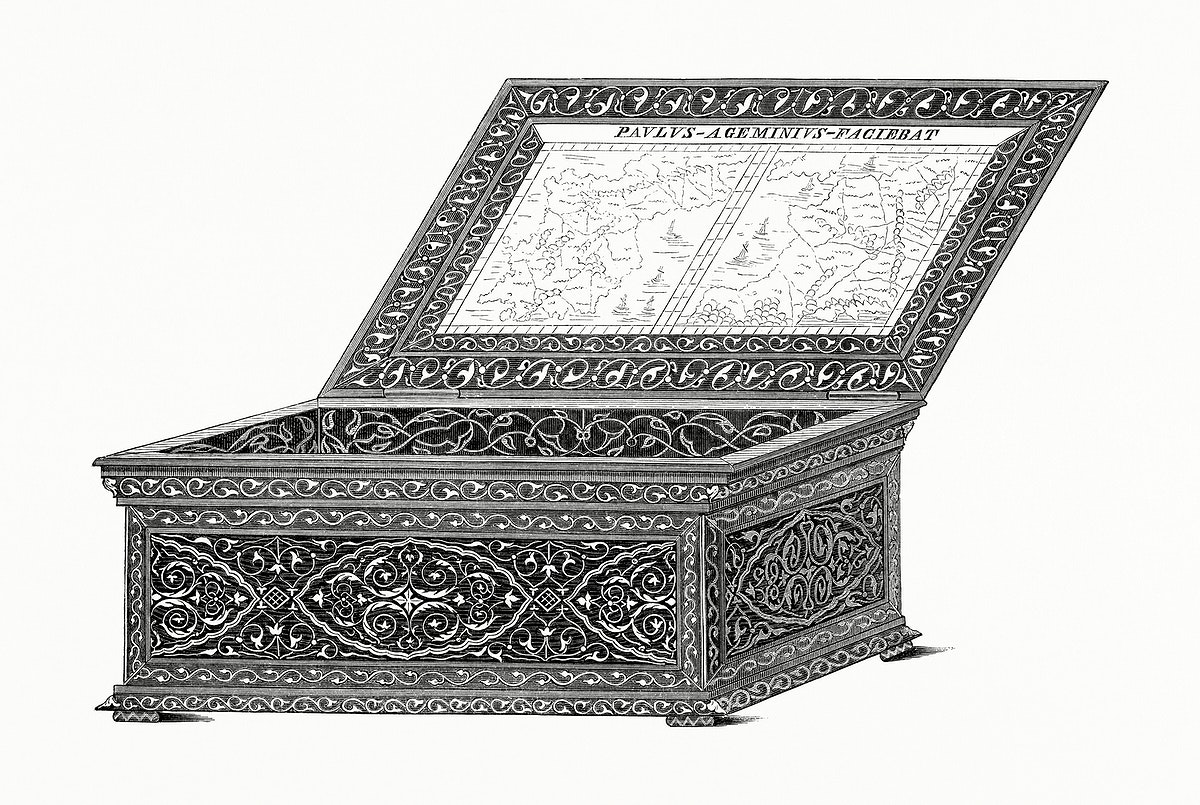 Box of Damascene All' Azzimina (1862) from Gazette Des Beaux-Arts, a French art review. Digitally enhanced from our own…