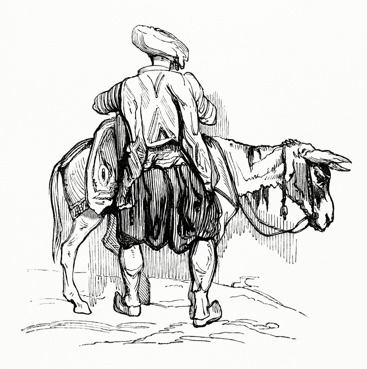 Vintage illustration of Traveler Loading up His Mule