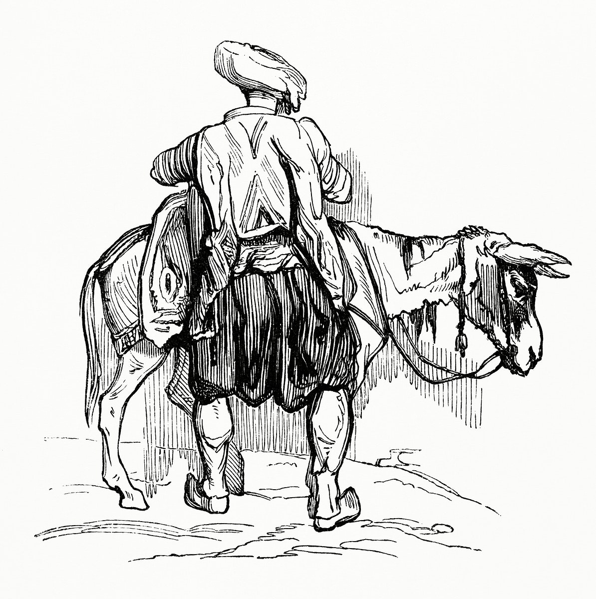 Traveler Loading up His Mule (1862) from Gazette Des Beaux-Arts, a French art review. Digitally enhanced from our own…