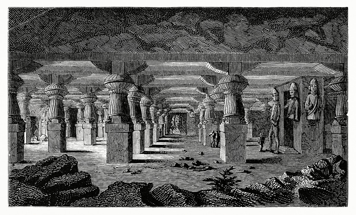 Predominance of the Depth Dimension of an Indian Temple (1862) from Gazette Des Beaux-Arts, a French art review. Digitally…
