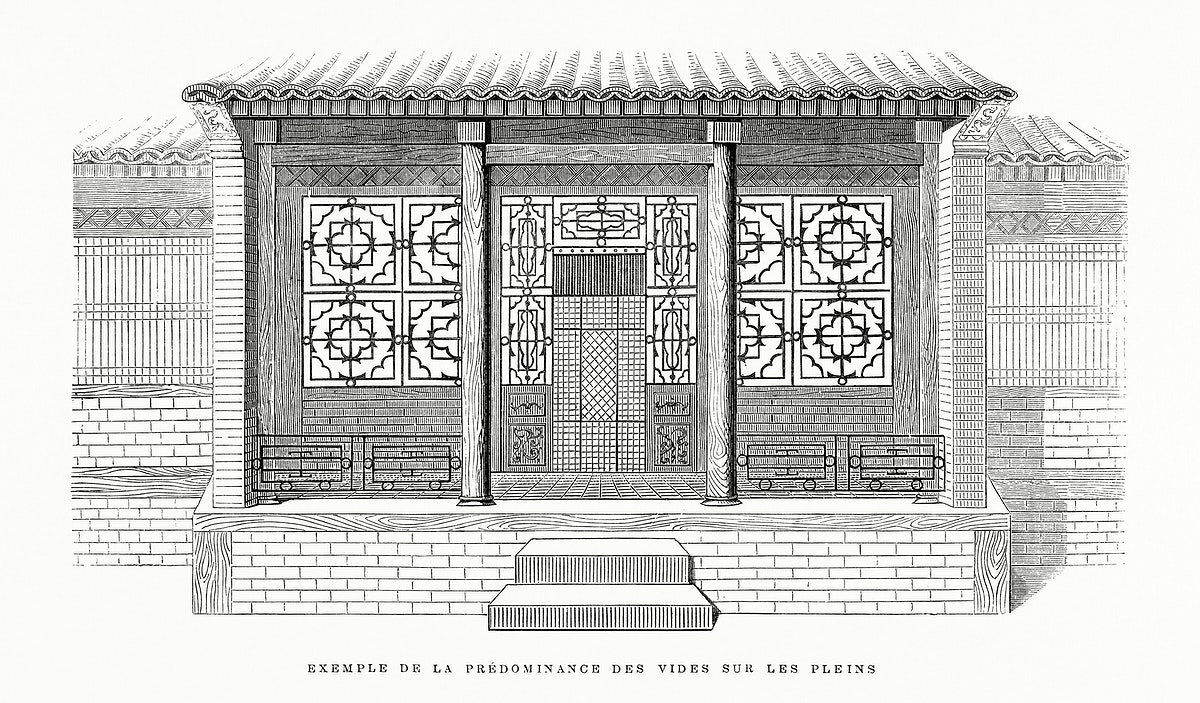 Vintage illustration of Example of the Predominance of Voids on the Full-House of Scholar in China