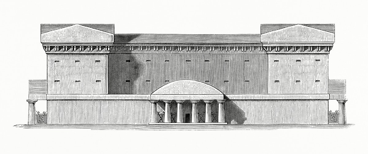 Vintage illustration of Example of the Predominance of Full on Voids of Prison d'Aix, in Provence, built by Ledoux