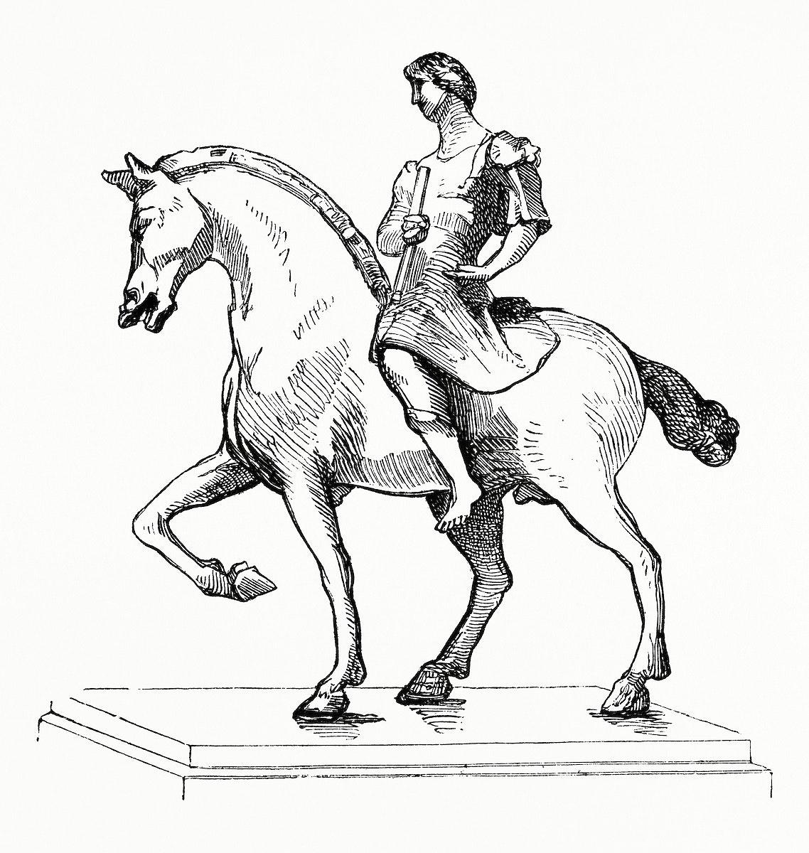 Vintage illustration of Man on a Horse