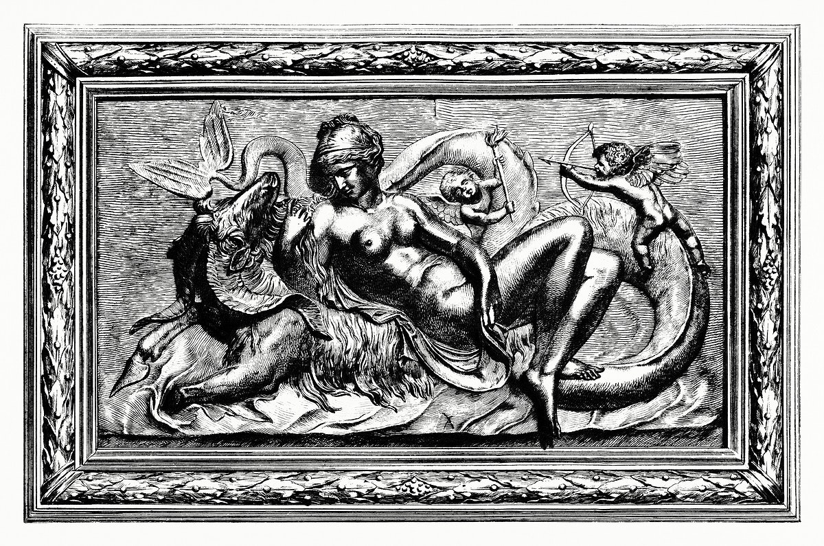 Venus Marine, high relief in bronze (1862) from Gazette Des Beaux-Arts, a French art review. Digitally enhanced from our own…