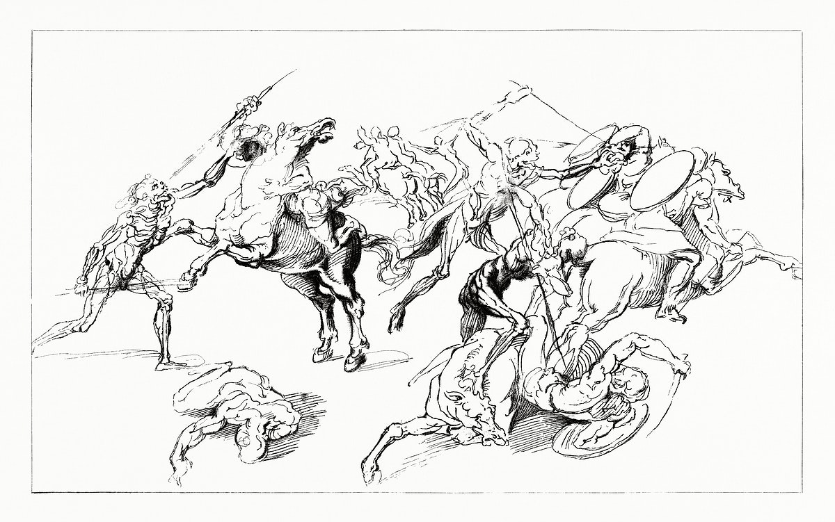 Facsimile of Leonardo Da Vinci's Drawing (1862) from Gazette Des Beaux-Arts, a French art review. Digitally enhanced from our…