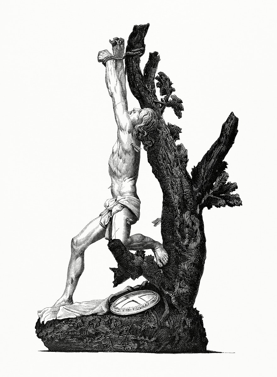 Saint Sebastian by Alonzo Cano (1862) from Gazette Des Beaux-Arts, a French art review. Digitally enhanced from our own…