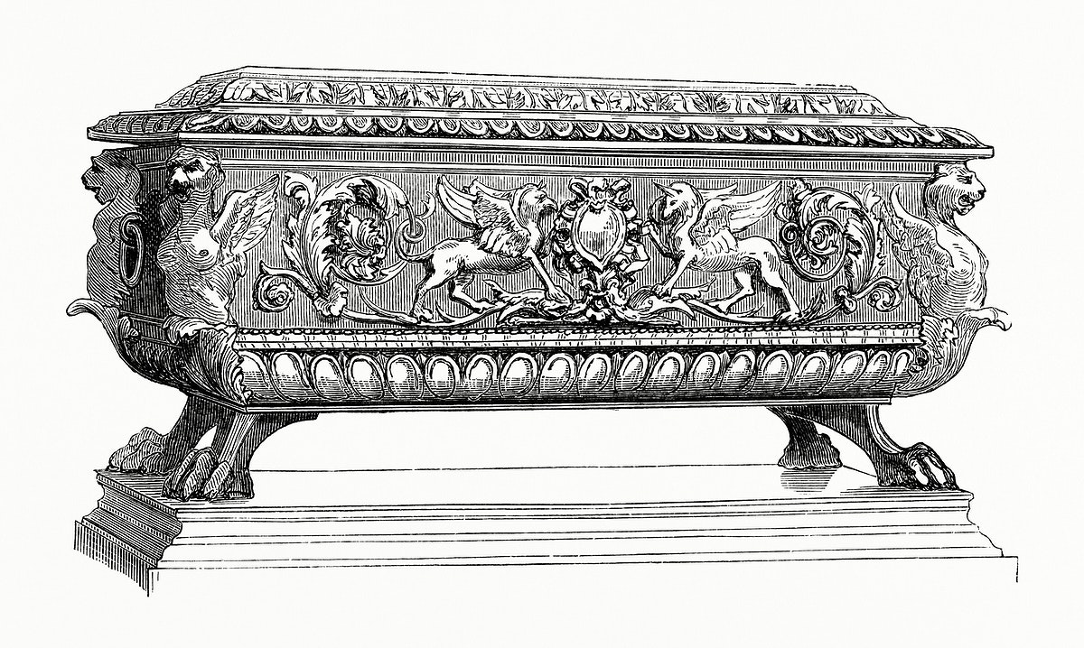 Carved Wooden Box (1862) from Gazette Des Beaux-Arts, a French art review. Digitally enhanced from our own facsimile book.