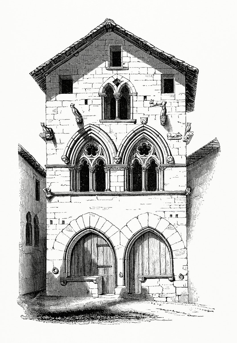 Vintage illustration of House in Figeac (1862)
