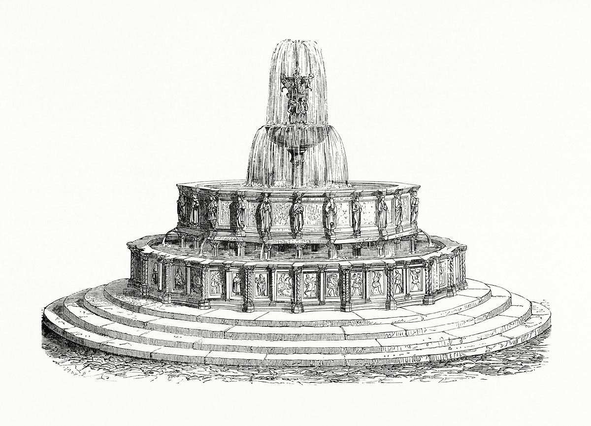 Vintage illustration of Fountain of Viterbo