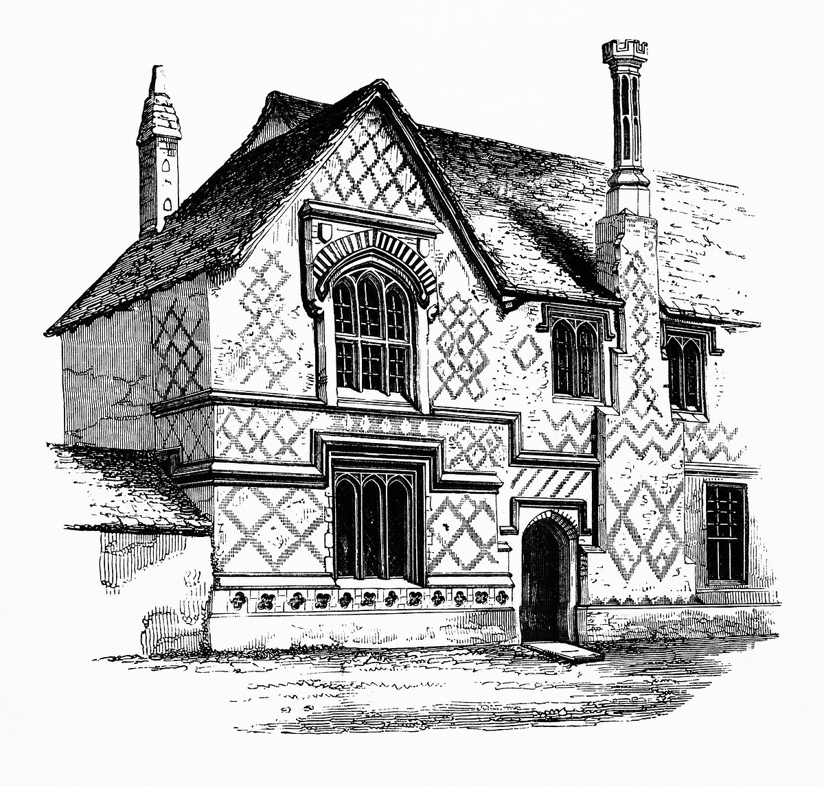 Residential Building (1862) from Gazette Des Beaux-Arts, a French art review. Digitally enhanced from our own facsimile book.