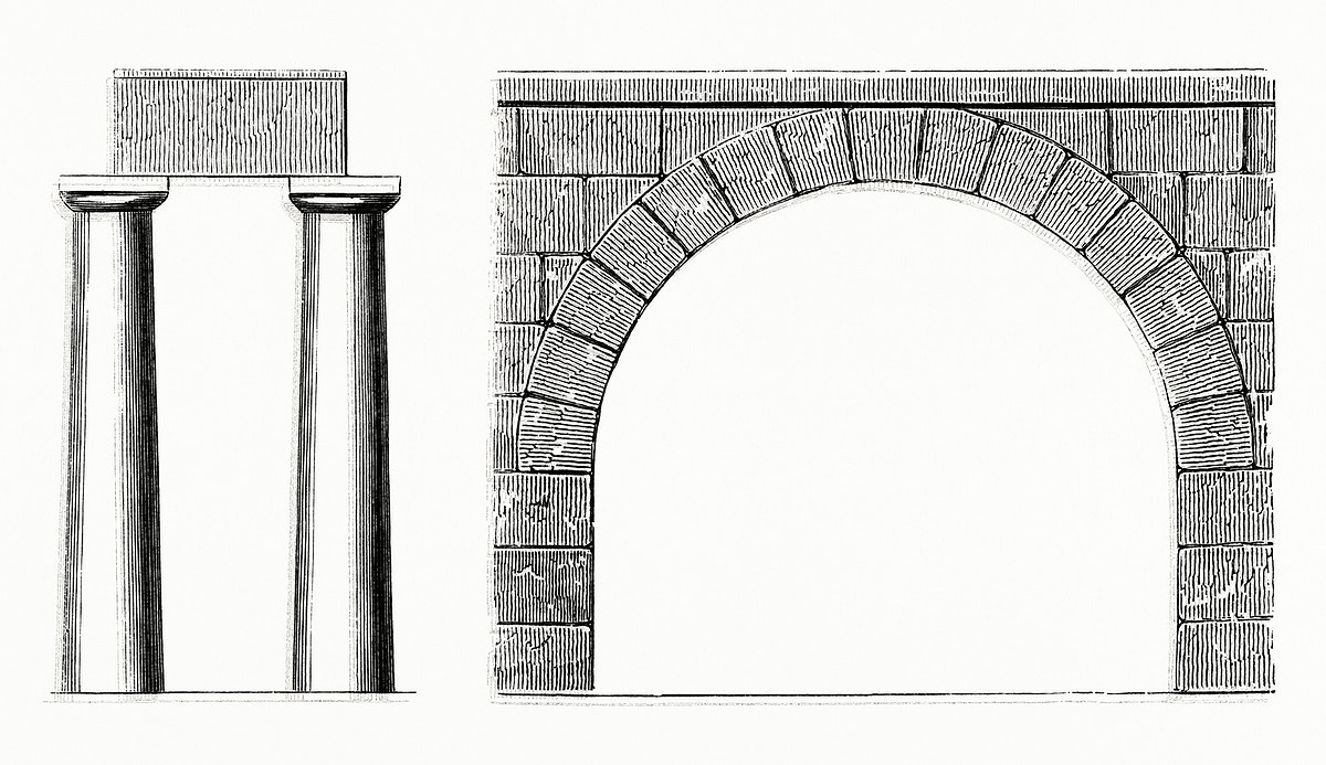Vintage illustration of Arch and Columns