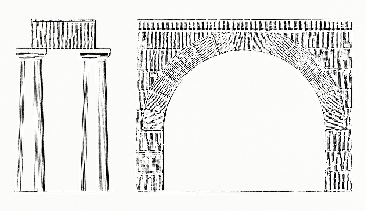 Arch and Columns (1862) from Gazette Des Beaux-Arts, a French art review. Digitally enhanced from our own facsimile book.