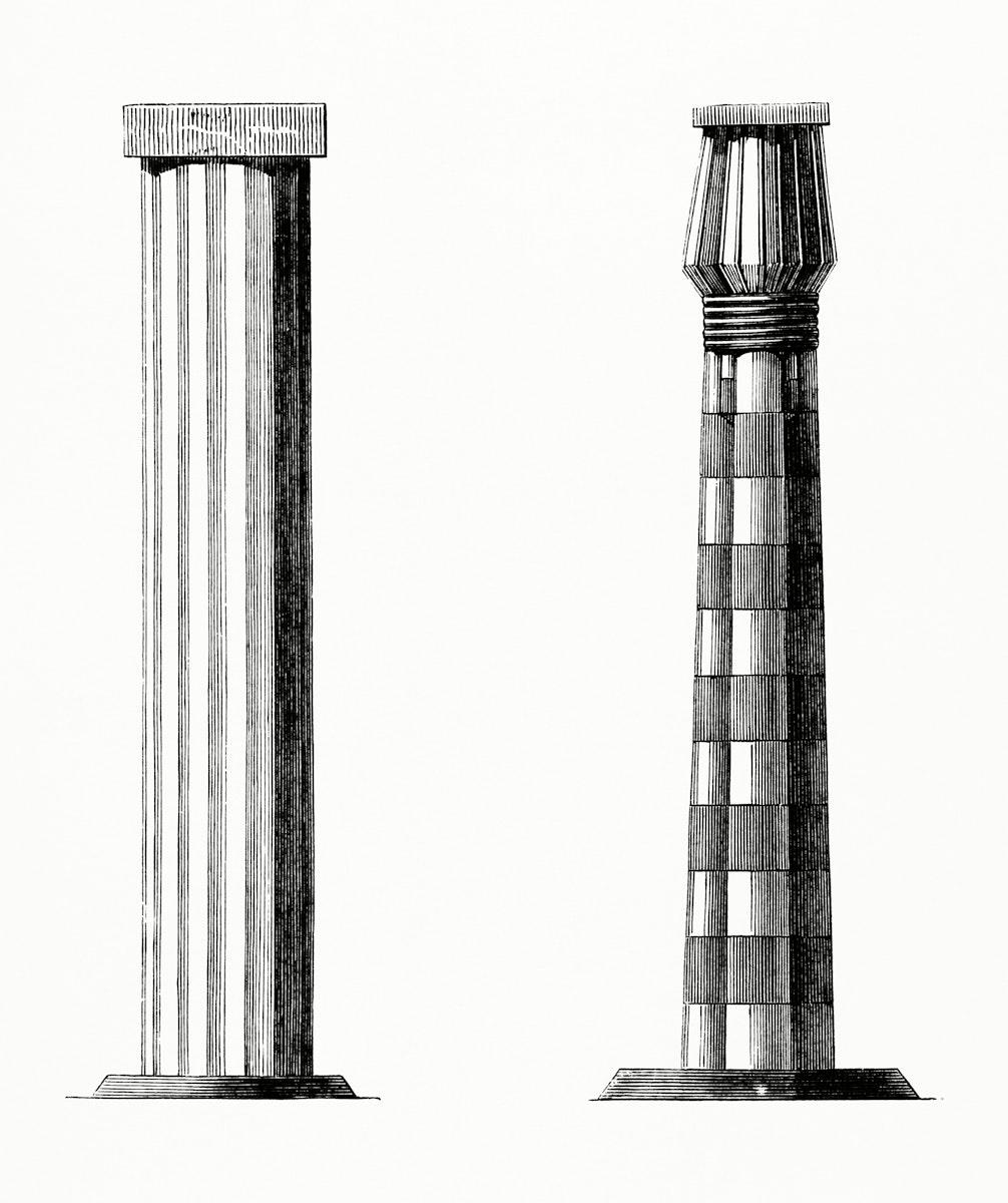 Vintage illustration of Column and a Pillar of Beni-Hassan