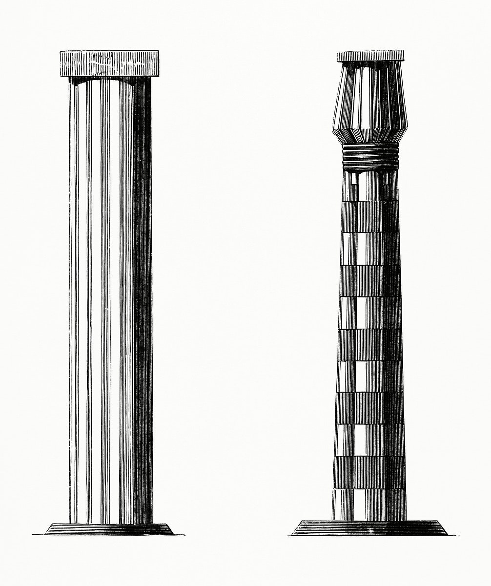 Column and a Pillar of Beni-Hassan (1862) from Gazette Des Beaux-Arts, a French art review. Digitally enhanced from our own…