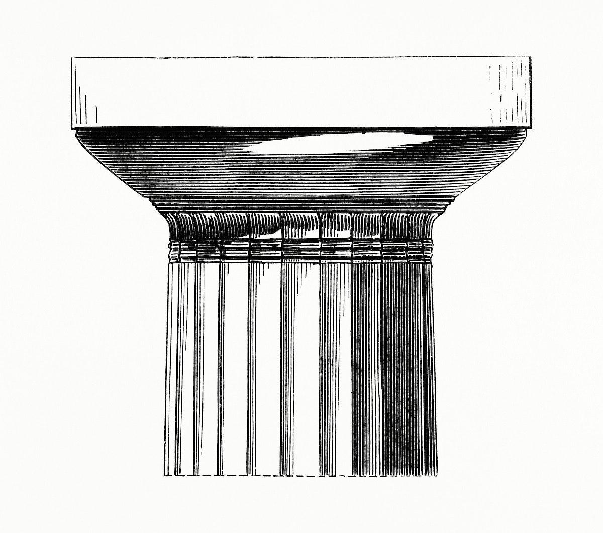 Vintage illustration of Closeup of a Column Head