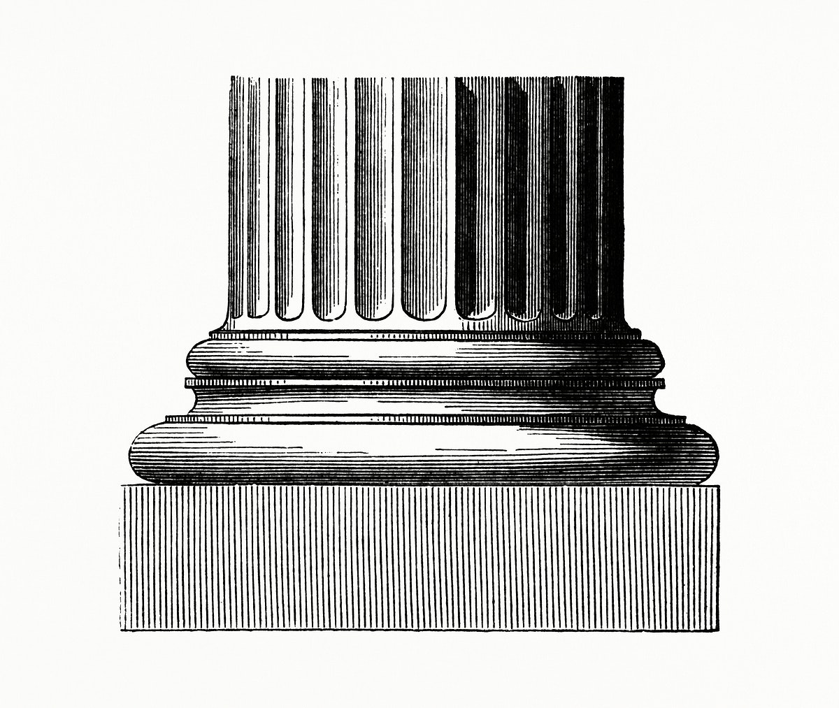 Vintage illustration of Closeup of a Column Base