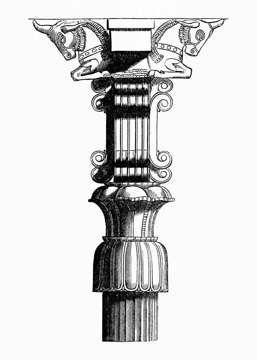 Vintage illustration of Persian Column