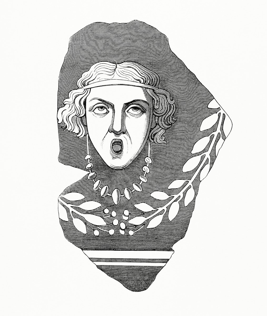 Dramatic Feminine Face (1862) from Gazette Des Beaux-Arts, a French art review. Digitally enhanced from our own facsimile…